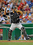 15 August 2008: Colorado Rockies' catcher Chris Iannetta in action against the Washington Nationals at Nationals Park in Washington, DC.  The Rockies edged out the Nationals 4-3, handing the last place Nationals their 8th consecutive loss. ..Mandatory Photo Credit: Ed Wolfstein Photo