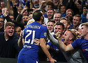 12th September 2017, Stamford Bridge, London, England; UEFA Champions League Group stage, Chelsea versus Qarabag FK; Davide Zappacosta of Chelsea celebrates wit the Chelsea fans after scoring his sides 2nd goal in the 29th minute to make it 2-0
