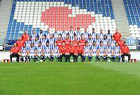 VOETBAL: HEERENVEEN: 07-07-2016, Fotopersdag SC Heerenveen, &copy;foto Martin de Jong<br /> <br /> v.l.n.r. bovenste rij: Vincent Schinkel (fysiotherapeut), Jordy Bruijn, Jair Oosterlen, Joris Voest, Willem Huizing , Stefan Gartenmann, Pelle van Amersfoort , Kik Pierie, Robert van Koesveld, Rewan Amin, Szabolcs Varga, Rannick Schoop, Erik ten Voorde (fysiotherapeut).<br /> <br /> v.l.n.r. middelste rij: Herman van Dijk (teammanager), Doke Schmidt, Younes Namli, Branco van den Boomen, Henk Veerman, Jan Bekkema, Erwin Mulder, Wouter van der Steen, Wieger Sietsma, Mitchell te Vrede, Joost van Aken, Kenneth Karim Otigba, Luka Zahović, Raymond Vissers (keeperstrainer).<br /> <br /> v.l.n.r. voorste rij: Gerald Sibon (assistent-trainer), Lucas Bijker, Caner Cavlan, Luciano Slagveer, Jeremiah St. Juste, Sam Larsson, Tieme Klompe (assistent-trainer), Jurgen Streppel (trainer/coach), Johnny Jansen (assistent-trainer), Simon Thern, Reza Ghoochannejhad, Morten Thorsby, Stefano Marzo, Arber Zeneli, Steven Edelenbos (loop- en conditietrainer).