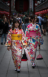 A street scene near the Sensō-ji ancient Buddhist temple located in Asakusa, Tokyo, Japan. It is Tokyo's oldest temple, and one of its most significant. Formerly associated with the Tendai sect of Buddhism, it became independent after World War II.