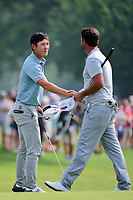Danny Lee (NZL) shakes hands with Scott Piercy (USA) following round 3 of the Dean &amp; Deluca Invitational, at The Colonial, Ft. Worth, Texas, USA. 5/27/2017.<br /> Picture: Golffile | Ken Murray<br /> <br /> <br /> All photo usage must carry mandatory copyright credit (&copy; Golffile | Ken Murray)