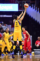 Washington, DC - August 17, 2018: Los Angeles Sparks forward Candace Parker (3) hits a three point basket during game between the Washington Mystics and Los Angeles Sparks at the Capital One Arena in Washington, DC. (Photo by Phil Peters/Media Images International)