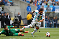 Seattle, WA - Tuesday June 14, 2016: Ezequiel Lavezzi, Edward Zenteno during a Copa America Centenario Group D match between Argentina (ARG) and Bolivia (BOL) at CenturyLink Field.