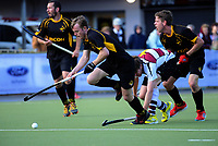 Daniel Harris in action during the men's National Hockey League final between Harbour and Capital at National Hockey Stadium in Wellington, New Zealand on Sunday, 23 September 2018. Photo: Dave Lintott / lintottphoto.co.nz