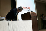 Toshiba Corp. President Satoshi Tsunakawa bows during a news conference at the company headquarters on August 10, 2017, Tokyo, Japan. Tsunakawa reported approximate 965.7 billion yen ($8.8 billion)loss for itsFiscal Year 2016 to March 31, 2017. Toshiba avoided being delisted from Tokyo Stock Exchange by announcing its delayed financial results. (Photo by Rodrigo Reyes Marin/AFLO)