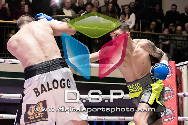Sam Gilley vs Jan Balog 4x3 - Super Welterweight Contest During Goodwin Boxing - Summit. Photo by: Simon Downing.<br /> <br /> Saturday December 2nd 2017 - York Hall, Bethnal Green, London, United Kingdom.