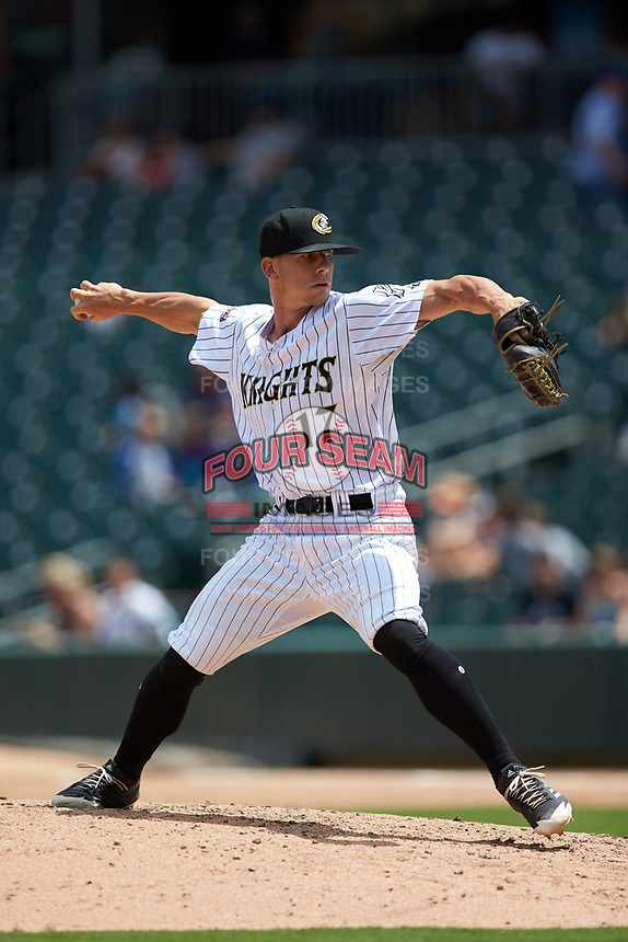 Charlotte Knights relief pitcher Ian Hamilton (17) in action against the Indianapolis Indians at BB&T BallPark on August 22, 2018 in Charlotte, North Carolina.  The Indians defeated the Knights 6-4 in 11 innings.  (Brian Westerholt/Four Seam Images)