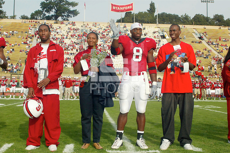Kerry Carter on Senior Day before Stanford's 31-21 loss to Oregon State on November 16, 2002.<br />Photo credit mandatory: Gonzalesphoto.com<br />USAGE: Stanford Athletics internal/promotional usage only. Other third party usage subject to rights fee: Contact david@gonzalesphoto.com for more information.
