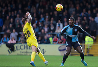Aaron Pierre of Wycombe Wanderers in action during the Sky Bet League 2 match between Wycombe Wanderers and Oxford United at Adams Park, High Wycombe, England on 19 December 2015. Photo by Andy Rowland.