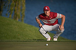 SUGAR GROVE, IL - MAY 31: Brad Dalke of the University of Oklahoma lines up a putt during the Division I Men's Golf Team Championship held at Rich Harvest Farms on May 31, 2017 in Sugar Grove, Illinois. Oklahoma won the team national title. (Photo by Jamie Schwaberow/NCAA Photos via Getty Images)