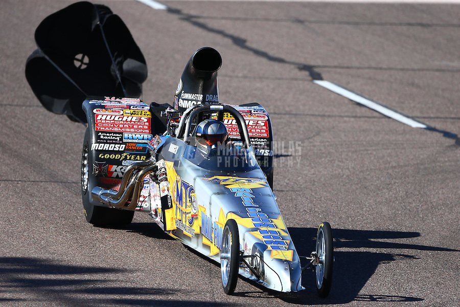 Feb 26, 2016; Chandler, AZ, USA; NHRA top dragster driver Rodger Comstock during qualifying for the Carquest Nationals at Wild Horse Pass Motorsports Park. Mandatory Credit: Mark J. Rebilas-
