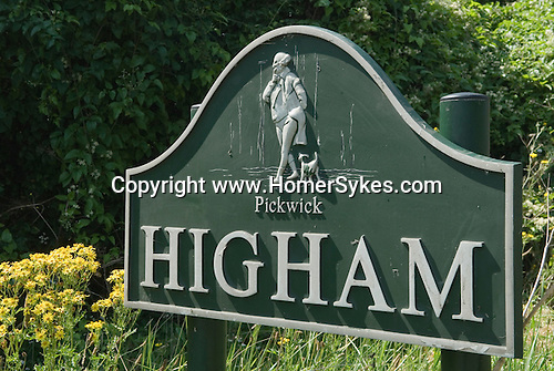 Higham Kent, UK. Village sign Pickwick Papers. Charles Dickens lived in village house called Gads Place House.