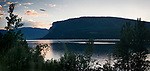 Panoramic landscape nature scenery of Shuswap Lake during sunset. BC, British Columbia, Canada.