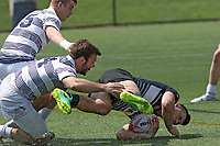 Penn State men's rugby Mike Eife against Army West Point men's rugby Jake Lachina in the 2nd round of the Penn Mutual Varsity Cup Men's Rugby Championship on April 15, 2017. Penn State won 47-34. Photo/©2017 Craig Houtz