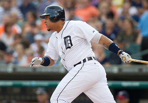 July 02, 2012:  Detroit Tigers third baseman Miguel Cabrera (24) at bat during MLB game action between the Minnesota Twins and the Detroit Tigers at Comerica Park in Detroit, Michigan.  The Twins defeated the Tigers 6-4.