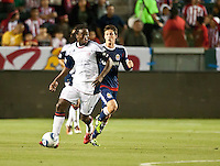 CARSON, CA – APRIL 30, 2011: New England Revolution midfielder Shairie Joseph (21) moves across the pitch during the match between Chivas USA and New England Revolution at the Home Depot Center, April 30, 2011 in Carson, California. Final score Chivas USA 3, New England Revolution 0.