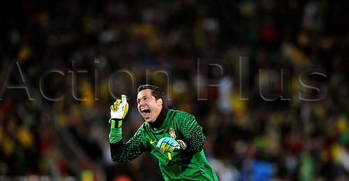 Julio Cesar of Brazil celebrates a goal during the 2010 FIFA World Cup soccer match between Brazil and Chile at Ellis Park Stadium on June 28, 2010 in Johannesburg, South Africa.