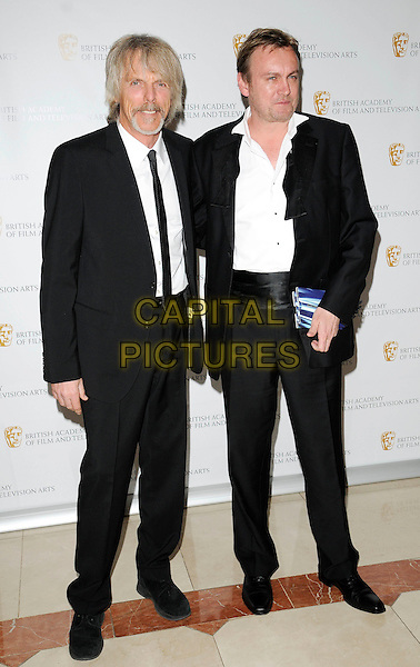 SCOTT GORHAM & PHILIP GLENISTER .2009 British Academy Television Craft Awards  at the London Hilton Hotel, London, England, UK, .May 17th 2009..Bafta Baftas TV Bafta's full length black suit tuxedo white shirt funny tie .CAP/CAN.©Can Nguyen/Capital Pictures