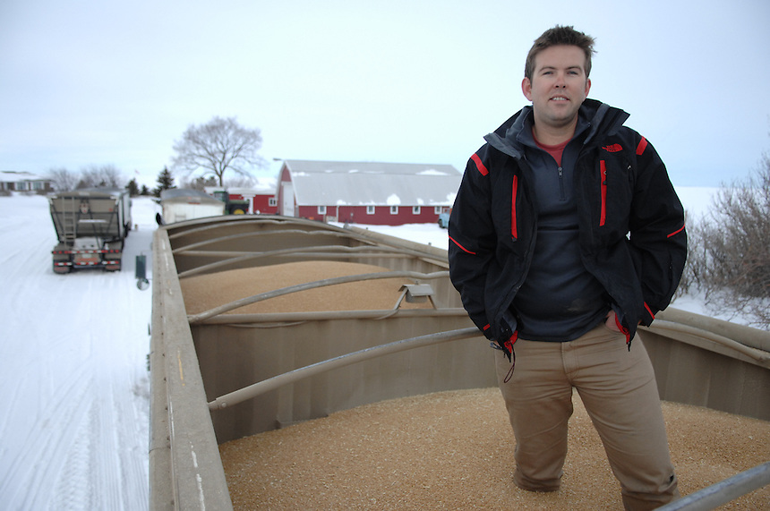 Levi Wood, a grain grower who farms near Pense, Sask., is waiting to ship three truckloads of durum, three silos full of wheat, and two silos full of canola. Each silo fills one of these trucks 30 times. MARK TAYLOR FOR THE GLOBE AND MAIL.