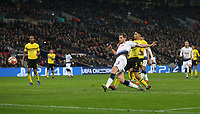 Tottenham Hotspur's Jan Vertonghen scores his side's second goal <br /> <br /> Photographer Rob Newell/CameraSport<br /> <br /> UEFA Champions League Round of 16 First Leg - Tottenham Hotspur v Borussia Dortmund - Wednesday 13th February 2019 - Wembley Stadium - London<br />  <br /> World Copyright © 2018 CameraSport. All rights reserved. 43 Linden Ave. Countesthorpe. Leicester. England. LE8 5PG - Tel: +44 (0) 116 277 4147 - admin@camerasport.com - www.camerasport.com