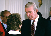 First lady Nancy Reagan congratulates actor Jimmy Stewart after he received the Presidential Medal of Freedom from United States President Ronald Reagan during a ceremony in the East Room of the White House in Washington, DC on May 23, 1985.<br /> Credit: Arnie Sachs / CNP