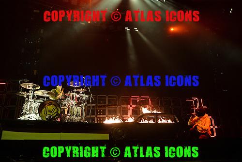 MIAMI, FL - JUNE 15: Josh Dun and Tyler Joseph of Twenty One Pilots perform at the AmericanAirlines Arena on June 15, 2019 in Miami Florida. Credit Larry Marano © 2019
