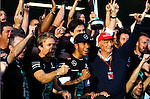 Nico Rosberg (GER), Mercedes GP - Lewis Hamilton (GBR), Mercedes GP - Niki Lauda (AUT) 3x F1 World Champion, Mercedes-Benz non-executive chairman of the board of directors<br /> for the complete Middle East, Austria & Germany Media usage only!<br />  Foto © nph / Mathis