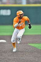 Tennessee Volunteers center fielder Jay Charleston (4) runs to third base during a game against the Appalachian State Mountaineers at Lindsey Nelson Stadium on February 16, 2019 in Knoxville, Tennessee. The Volunteers defeated Mountaineers 2-0. (Tony Farlow/Four Seam Images)