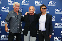 From left, Jurgen Prochnow, Bruno Ganz and Atom Egoyan attend a photocall for the movie 'Remember' during the 72nd Venice Film Festival at the Palazzo Del Cinema in Venice, Italy, September 10, 2015.<br /> UPDATE IMAGES PRESS/Stephen Richie