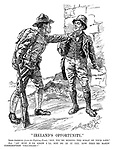"""Ireland's Opportunity."" Irish-American (from the Fighting Front). ""Say, you're missing the scrap of your life."" Pat. ""An' how d'ye know I'll not be in it yet, now they're makin' conscription voluntary?"""