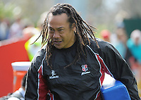 Counties coach Tana Umaga during the ITM Cup and Ranfurly Shield rugby match between Counties-Manukau Steelers and Taranaki at Pukekohe Stadium, Pukekohe, New Zealand on Sunday, 15 September 2013. Photo: Dave Lintott / lintottphoto.co.nz