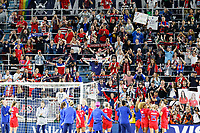 Saint Paul, MN - Tuesday September 03, 2019 : USWNT celebrates with fans after the  USWNT 2019 Victory Tour match versus Portugal at Allianz Field, on September 03, 2019 in Saint Paul, Minnesota.