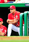 15 August 2010: Washington Nationals manager Jim Riggleman watches play from the dugout during a game against the Arizona Diamondbacks at Nationals Park in Washington, DC. The Nationals defeated the Diamondbacks 5-3 to take the rubber match of their 3-game series. Mandatory Credit: Ed Wolfstein Photo