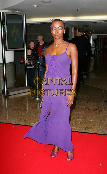 PHINA ORUCHE.Screen Nation Film & Television Awards 2007, Hilton London Metropole, London, England..October 15th, 2007.full length purple dress slit split ruffles shoes .CAP/ROS.©Steve Ross/Capital Pictures