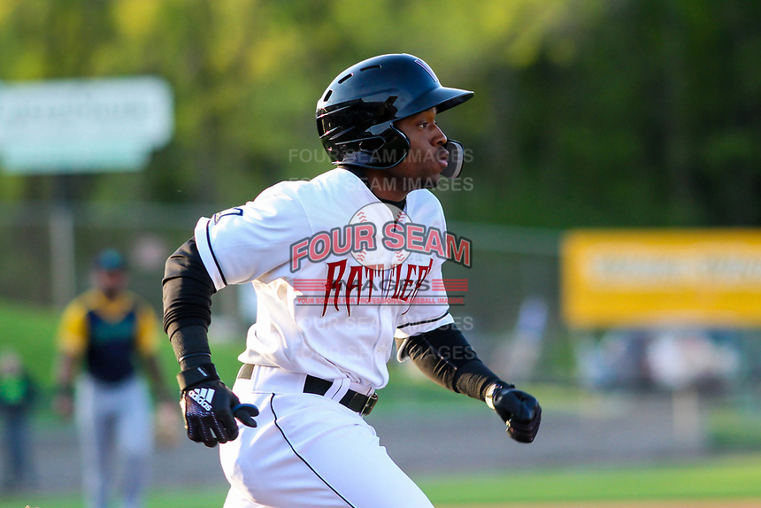 Wisconsin Timber Rattlers shortstop Devin Hairston (1) runs to first base during a Midwest League game against the Beloit Snappers on May 17, 2018 at Fox Cities Stadium in Appleton, Wisconsin. Beloit defeated Wisconsin 8-7. (Brad Krause/Four Seam Images)