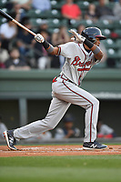 Right fielder Isranel Wilson (5) of the Rome Braves bats in a game against the Greenville Drive on Thursday, April 12, 2018, at Fluor Field at the West End in Greenville, South Carolina. Greenville won, 14-4. (Tom Priddy/Four Seam Images)