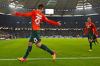 FUSSBALL   1. BUNDESLIGA   SAISON 2011/2012   22. SPIELTAG Hamburger SV - Werder Bremen       18.02.2012 Tom Trybull (li) und Francois Affolter (re, beide SV Werder Bremen) jubeln ueber das Tor zum 0:2