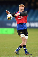 Miles Reid of Bath Rugby passes the ball during the pre-match warm-up. Anglo-Welsh Cup match, between Bath Rugby and Newcastle Falcons on January 27, 2018 at the Recreation Ground in Bath, England. Photo by: Patrick Khachfe / Onside Images