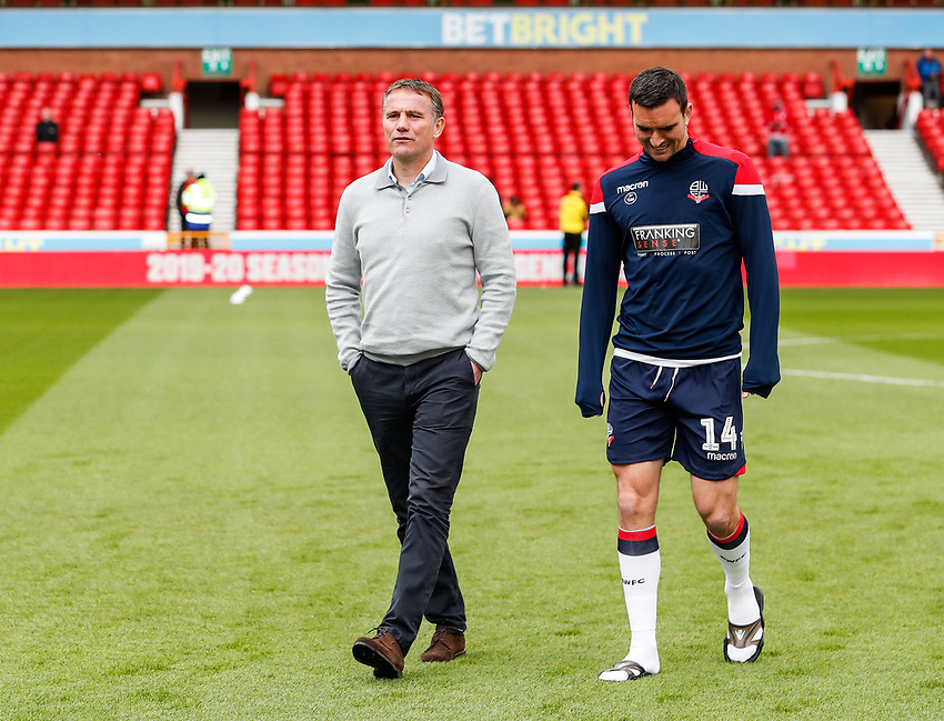 Bolton Wanderers' manager Phil Parkinson and Jack Hobbs pictured before the match <br /> <br /> Photographer Andrew Kearns/CameraSport<br /> <br /> The EFL Sky Bet Championship - Nottingham Forest v Bolton Wanderers - Sunday 5th May 2019 - The City Ground - Nottingham<br /> <br /> World Copyright © 2019 CameraSport. All rights reserved. 43 Linden Ave. Countesthorpe. Leicester. England. LE8 5PG - Tel: +44 (0) 116 277 4147 - admin@camerasport.com - www.camerasport.com