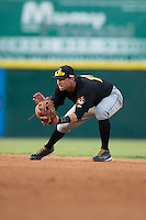 West Virginia Power second baseman Tyler Filliben (14) on defense against the Hickory Crawdads at L.P. Frans Stadium on August 15, 2015 in Hickory, North Carolina.  The Power defeated the Crawdads 9-0.  (Brian Westerholt/Four Seam Images)