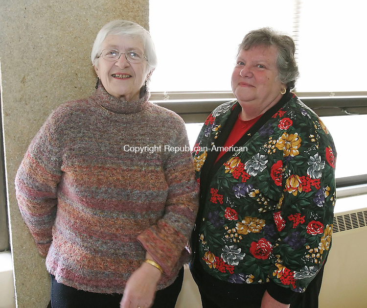 WATERBURY, CT 4/10/07- 041007BZ07- From left- Members of the Farmingbury Woman's Club of Wolcott, Fran Culver, of Wolcott, and Florence Mihalyak, of Wolcott <br /> during a meeting celebrating the 118th birthday of the Waterbury Women's Club Tuesday.   The event was held at the First Congregational Church on West Main Street <br /> Jamison C. Bazinet Republican-American