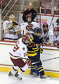 Paul Carey (BC - 22), Brandon Brodhag (Merrimack - 12) - John Muse (BC - 1), John Hegarty (BC - Dir-Hockey Operations), Patrick Alber (BC - 27), Edwin Shea (BC - 8), Brian Dumoulin (BC - 2) - The Boston College Eagles defeated the Merrimack College Warriors 7-0 on Tuesday, February 23, 2010 at Conte Forum in Chestnut Hill, Massachusetts.
