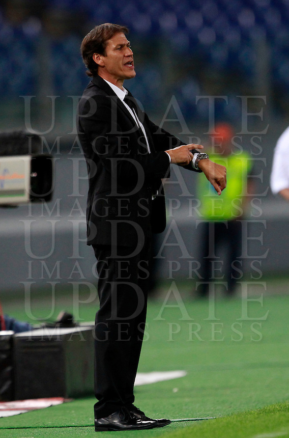 Calcio, amichevole Roma vs Fenerbahce. Roma, stadio Olimpico, 19 agosto 2014.<br /> Roma coach Rudi Garcia, of France, gestures during the friendly match between AS Roma and Fenerbahce at Rome's Olympic stadium, 19 August 2014.<br /> UPDATE IMAGES PRESS/Isabella Bonotto