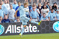 Chance Myers (7) Sporting KC defender in action... Sporting KC defeated FC Dallas 2-1 at LIVESTRONG Sporting Park, Kansas City, Kansas.