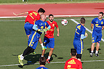 Spanish player Pepe Reina, Nolito and Marc Bartra during the first training of the concentration of Spanish football team at Ciudad del Futbol de Las Rozas before the qualifying for the Russia world cup in 2017 August 29, 2016. (ALTERPHOTOS/Rodrigo Jimenez)