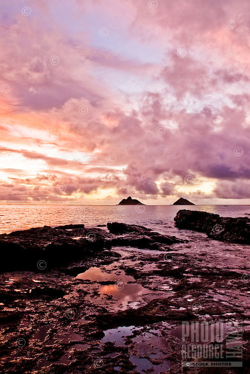 A surreal sunrise engulfs sky with Mokulua Islands in distance.