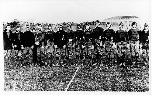 West Point, New York - Undated file photo -- Part of the 1912 West Point football team.  Cadet Dwight D. Eisenhower is 2nd from left; Cadet Omar N. Bradley is 2nd from right.  Both Eisenhower and Bradley were destined to become General of the Army..Credit: U.S. Army photo / CNP