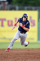State College Spikes shortstop Andrew Sohn (11) running the bases during a game against the Batavia Muckdogs on July 3, 2014 at Dwyer Stadium in Batavia, New York.  State College defeated Batavia 7-1.  (Mike Janes/Four Seam Images)