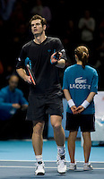 Andy Murray (GBR) against Juan Martin Del Potro (ARG) in the Group A Singles. Muray beat Del Potro 6-3 3-6 6-2..International Tennis - Barclays ATP World Tour Finals - O2 Arena - London - Day 1 - Sun 22 Nov 2009..© Frey - AMN IMAGES, Level 1 Barry House, 20-22 Worple Road, London, SW19 4DH - +44 20 8947 0100