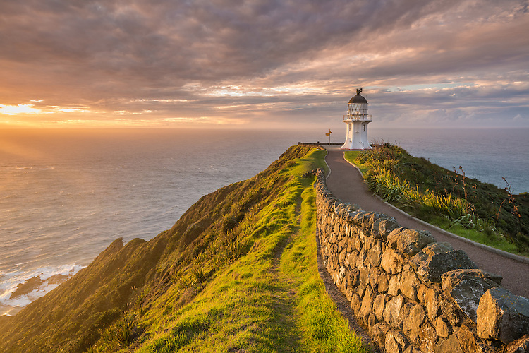 Cape Reinga, sunset, Northland, New Zealand - stock photo, canvas, fine art print